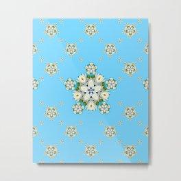 Waterlily Snowflake Pattern Metal Print