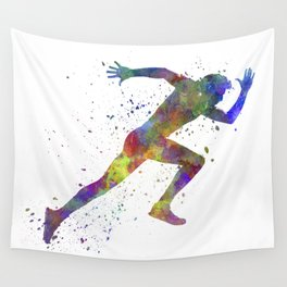 Man running sprinting jogging Wall Tapestry