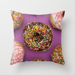 Sprinkle Donuts Throw Pillow