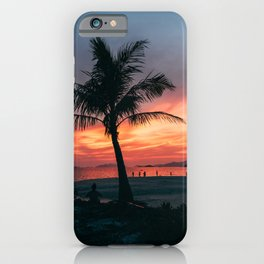 palmtrees and sunsets at tropical beach - colorful travel print  iPhone Case