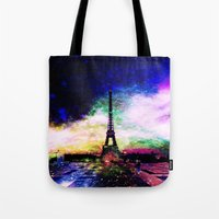 eiffel tower Tote Bags featuring eiffel tower by haroulita