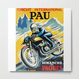 Grand Prix Pau, vintage poster, Motorcycle poster, race poster, Motorcycle poster Metal Print