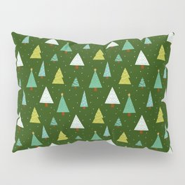 Holly Jolly Christmas Trees - Green Pillow Sham