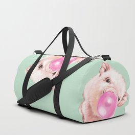 Bubble Gum Sneaky Baby Pig in Green Duffle Bag