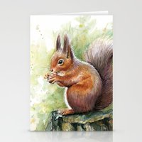 squirrel Stationery Cards featuring Squirrel by Olechka