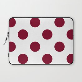 Large Polka Dots - Burgundy Red on White Laptop Sleeve
