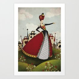 Off with their heads Queen of hearts from Alice in Wonderland Art Print