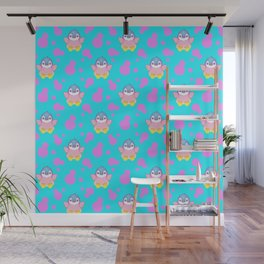 Cute sweet little baby penguins flapping wings, bold pink retro dots pretty blue girly pattern Wall Mural