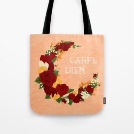 Crescent Bloom | Red roses and oranges Tote Bag