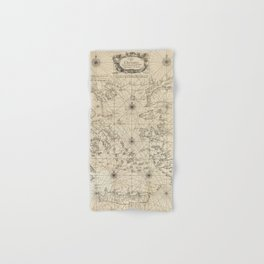 Vintage Map Print - 1746 map of the Aegean Sea and its Islands Hand & Bath Towel