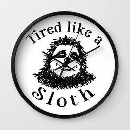 Tired like a Sloth Wall Clock