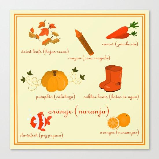 Colors: orange (Los colores: naranja) Canvas Print