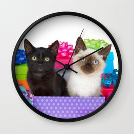 Kittens Surprise Birthday Party Wall Clock