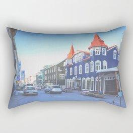 Colorful buildings on main street of Akureyri, Iceland Rectangular Pillow