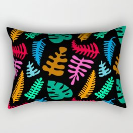 Mod Minimalist Leaves in Black + Tropical Multi Rectangular Pillow
