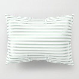 Mattress Ticking Narrow Striped Pattern in Moss Green and White Pillow Sham
