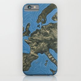L'europe, Europe landscape painting by Óscar Domínguez; England, Spain, France, Italy, Greece, Germany, Switzerland iPhone Case