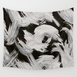 Brush, Abstract, White & Black Wall Tapestry