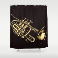 trumpet Shower Curtains featuring trumpet by Ancello
