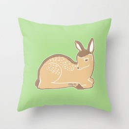 White-Tailed Deer Spring Green Throw Pillow