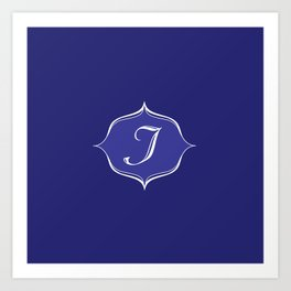 I Monogram Royal Blue Art Print