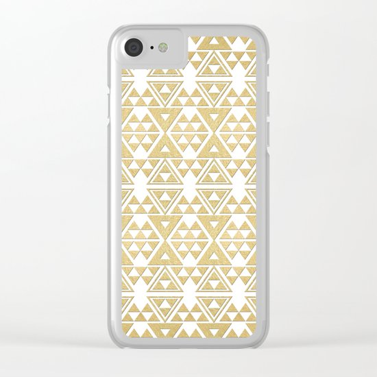 White and Gold Geometric Pattern 2 Clear iPhone Case