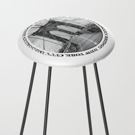 Brooklyn Bridge New York City (black & white with text) Counter Stool
