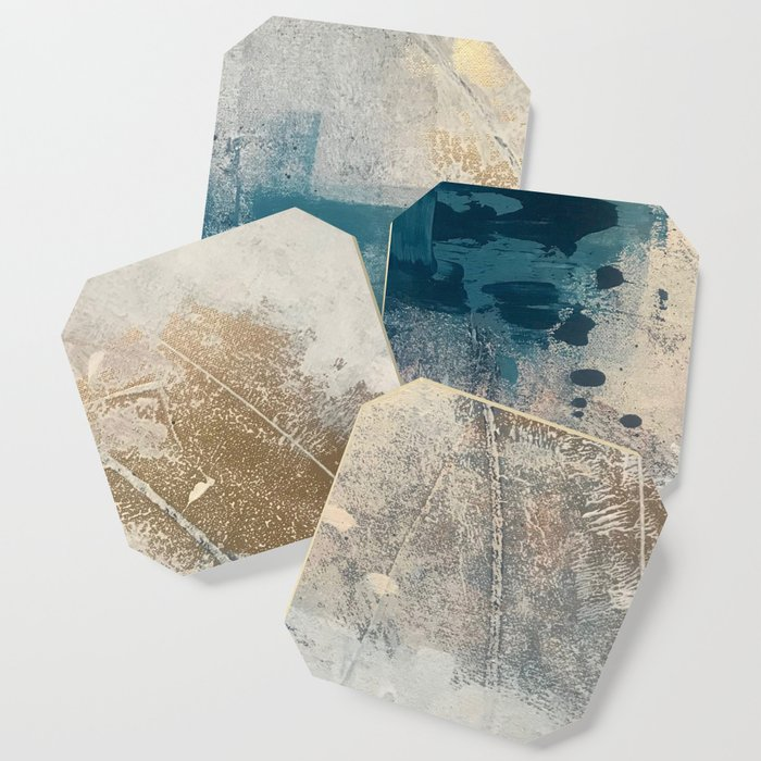 Embrace: a minimal, abstract mixed-media piece in blues and gold with a hint of pink Coaster