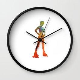 Woman in roller skates 11 in watercolor Wall Clock