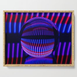 Red and Blue in the glass ball Serving Tray
