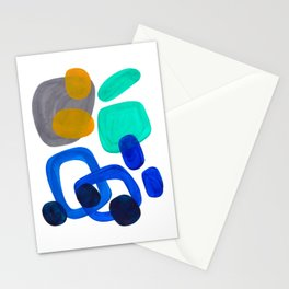 Minimalist Abstract Mid Century Modern Expressionist Organic Pattern Colorful Blue Aquamarine Teal Stationery Cards