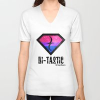 bisexual V-neck T-shirts featuring Bi-Tastic Bisexual medalion  by SuperQueero
