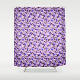 Lilac pink navy blue watercolor hydrangea floral Shower Curtain