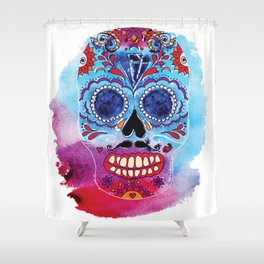 Watercolor Day of the dead sugar skull. Mexican skull illustration. Shower Curtain