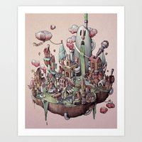 island Art Prints featuring Floating Island by Marija Tiurina