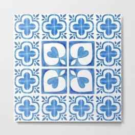 Handpainted watercolor tiles. Decorative abstract design. Metal Print