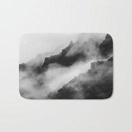 Foggy Mountains Black and White Bath Mat