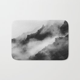 Foggy Mountains Black and White Bath Mat