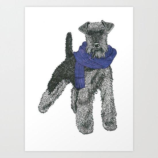 Welsh Terrier, Purple.  Art Print