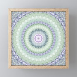 Heirloom Mandala in Pastel Green and Purple Framed Mini Art Print