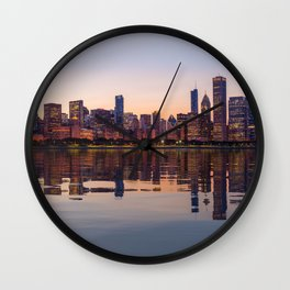 Panorama of the City skyline of Chicago Wall Clock