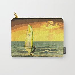 Windsurfer Windsurfing Ocean Sunset Water Painting Carry-All Pouch