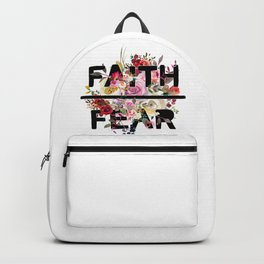 Christian Quote - Faith Over Fear - Cute Floral Watercolor Typography Backpack