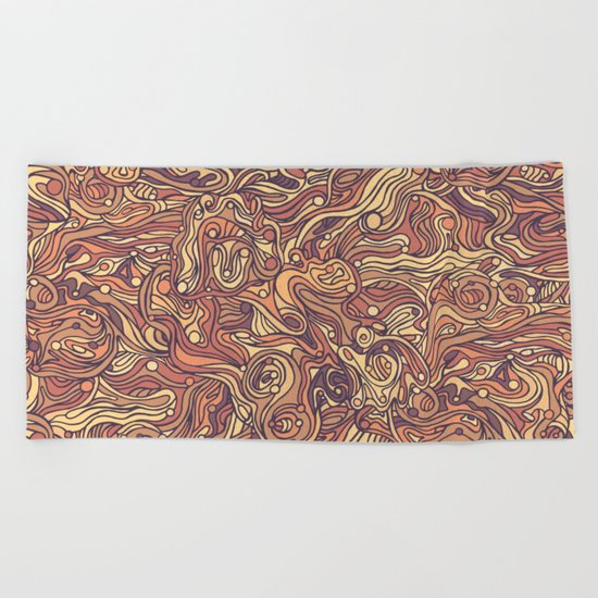 Abstract colorful hand drawn curly pattern design Beach Towel
