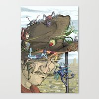pixies Canvas Prints featuring Cowboys & Pixies by David Comito