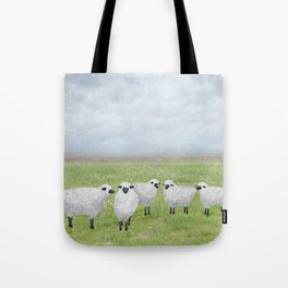 sheep and queen anne's lace Tote Bag