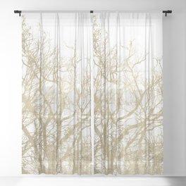 Elegant botanical gold foil tree  branch Sheer Curtain