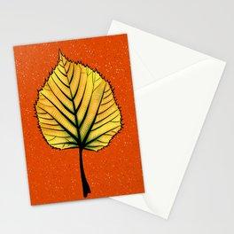 Yellow Linden Leaf On Orange Botanical Art Stationery Cards