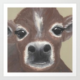 Original Painting - Farmyard Friends - Calf - Cute cow painting Art Print