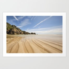 Low tide at the stunning Pedn Vounder Beach, Cornwall. Art Print